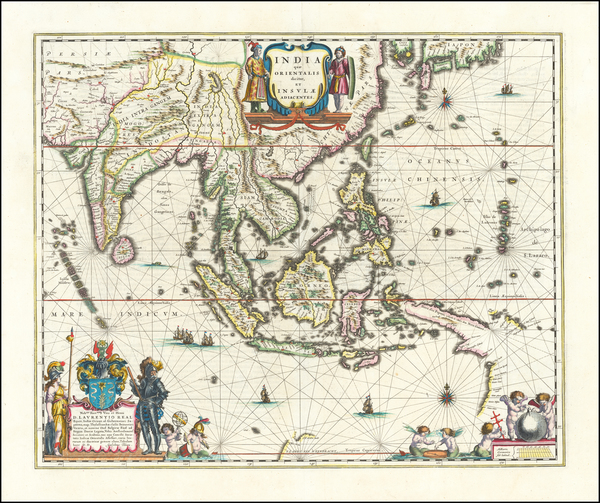 14-China, India, Southeast Asia and Philippines Map By Willem Janszoon Blaeu