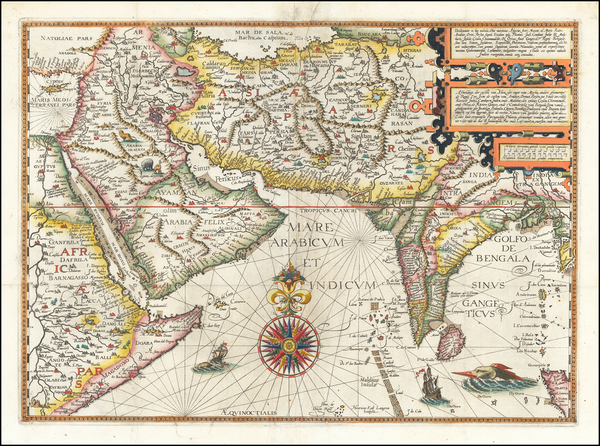 Indian Ocean, India, Central Asia & Caucasus, Middle East and East Africa Map By Jan Huygen Van Linschoten