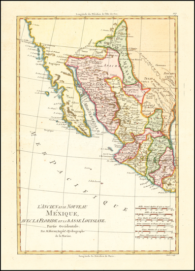 73-Texas, Southwest, Mexico and Baja California Map By Rigobert Bonne