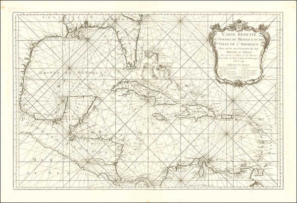 82-Florida, South, Southeast, Texas, Caribbean and Central America Map By Jacques Nicolas Bellin