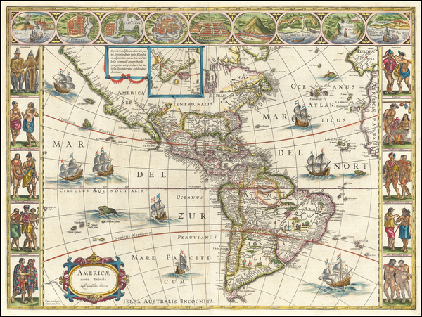 43-America Map By Willem Janszoon Blaeu