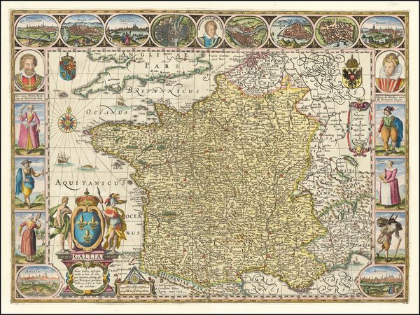 73-France Map By Petrus Kaerius