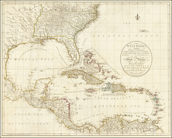 41-Florida, South, Southeast, Caribbean, Central America and American Revolution Map By John Cary
