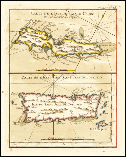 20-Puerto Rico and Virgin Islands Map By Jacques Nicolas Bellin