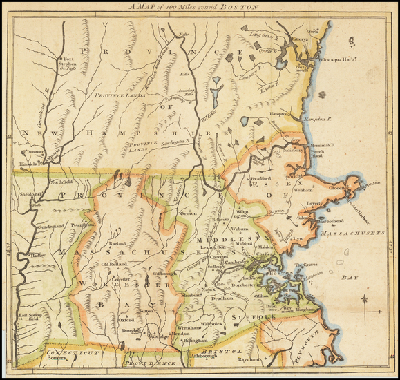 31-New England and Massachusetts Map By Gentleman's Magazine