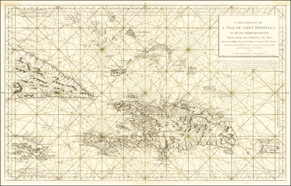 100-Cuba, Hispaniola, Puerto Rico and Bahamas Map By Depot de la Marine