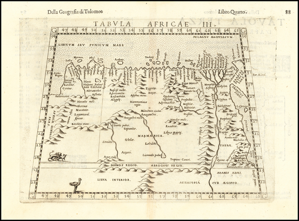 16-Egypt and North Africa Map By Girolamo Ruscelli