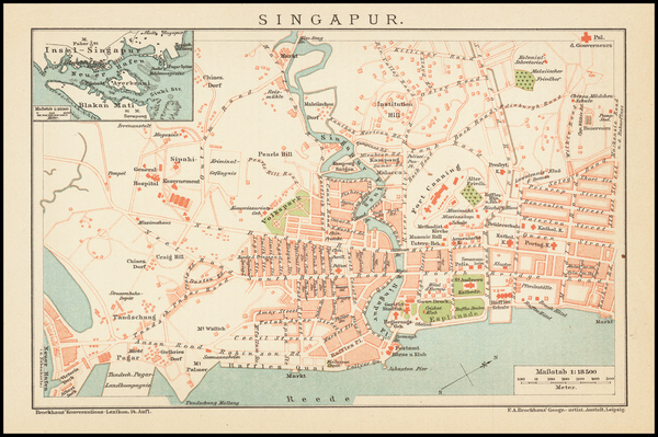 24-Singapore Map By Friedrich Arnold Brockhaus