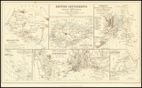 Singapore, Indonesia and Malaysia Map By Archibald Fullarton & Co.