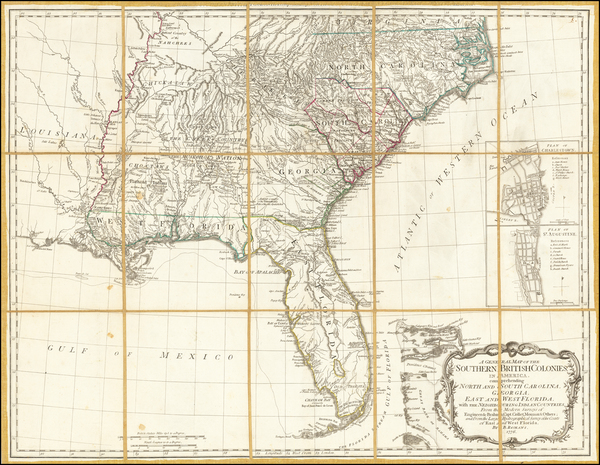 46-Florida, South, Southeast, Georgia, North Carolina and South Carolina Map By Robert Sayer  &