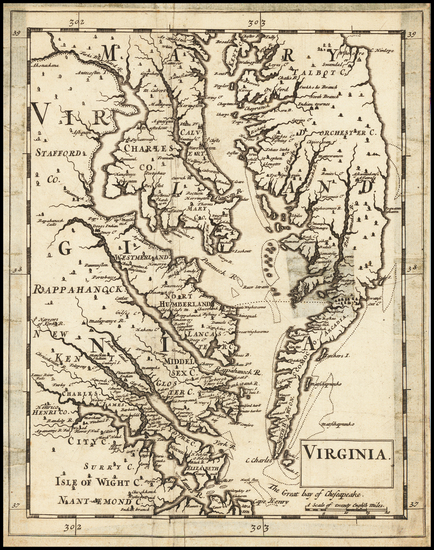 90-Maryland, Delaware, Southeast and Virginia Map By Sir Jonas Moore