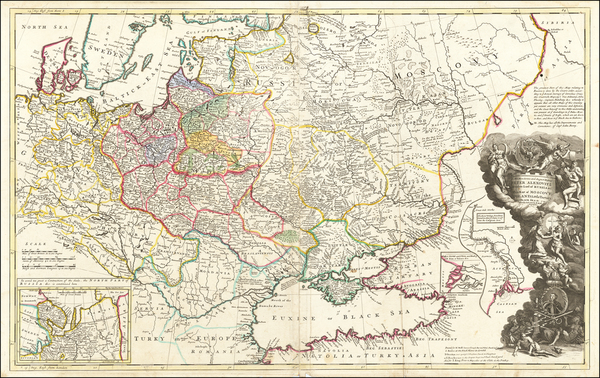 0-Poland, Russia, Ukraine and Baltic Countries Map By Herman Moll