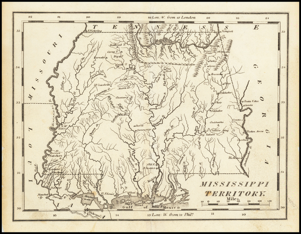 7-Alabama and Mississippi Map By Mathew Carey