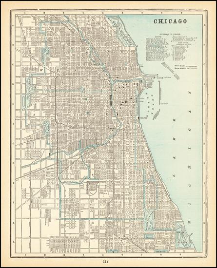 94-Illinois and Chicago Map By George F. Cram