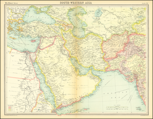 39-Central Asia & Caucasus, Middle East, Arabian Peninsula and Persia Map By Times Atlas