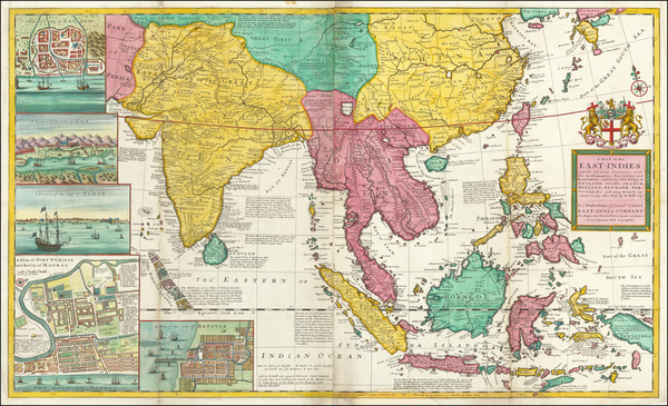 100-Indian Ocean, China, India, Southeast Asia and Philippines Map By Herman Moll