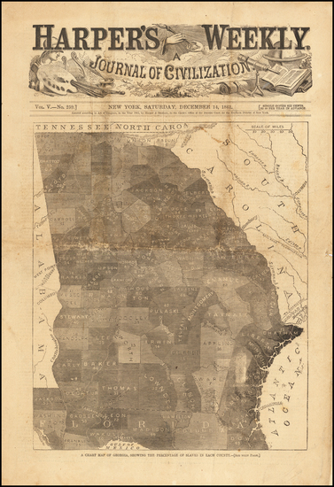 59-Georgia and Civil War Map By Harper's Weekly