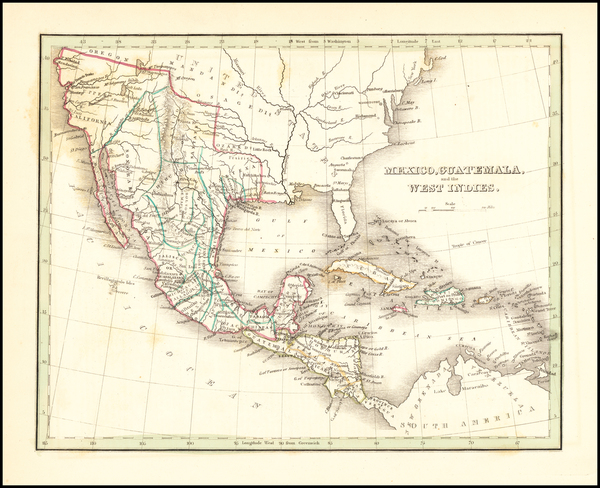 48-Texas, Southwest, Mexico and California Map By Thomas Gamaliel Bradford