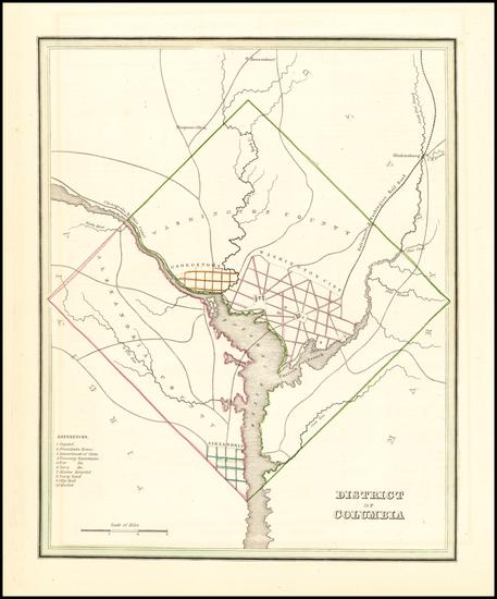 92-Washington, D.C. Map By Thomas Gamaliel Bradford