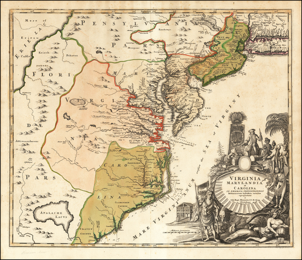 6-Mid-Atlantic, Maryland, Delaware, Southeast and Virginia Map By Johann Baptist Homann
