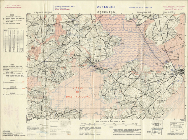 11-France and World War II Map By Company B, 660th Engineers