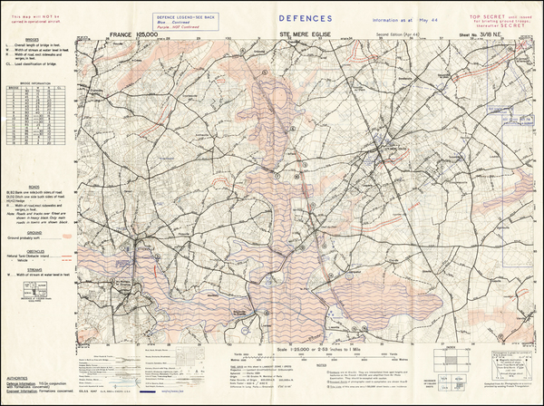 60-France and World War II Map By Company B, 660th Engineers