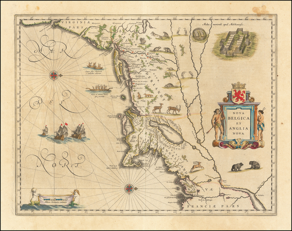 75-New England, New York State and Mid-Atlantic Map By Willem Janszoon Blaeu