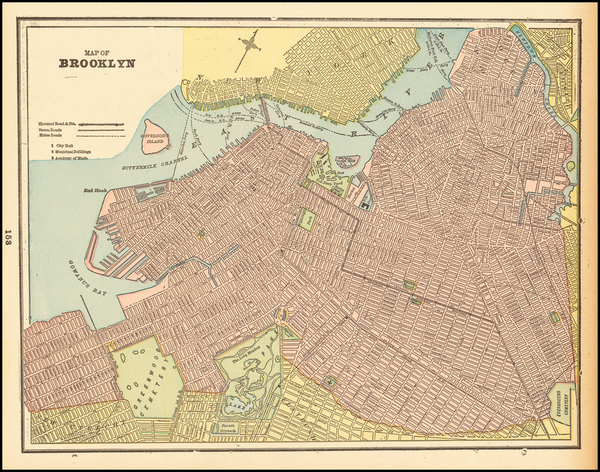 New York City and New York State Map By George F. Cram