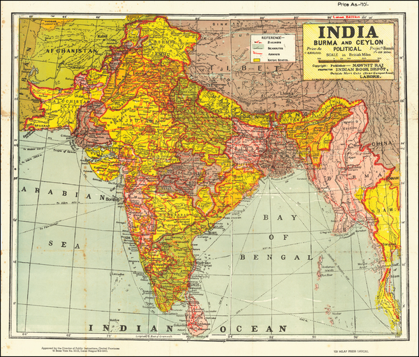94-India and Thailand Map By D.S. Biba Singh