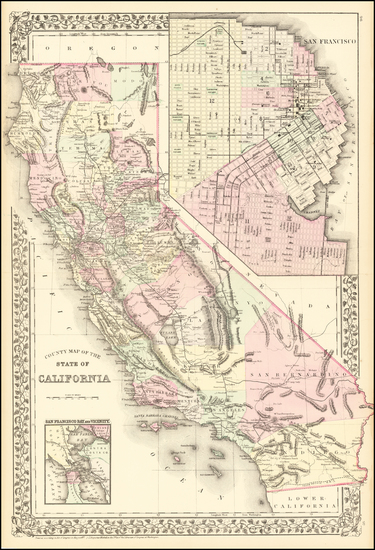 96-California Map By Samuel Augustus Mitchell Jr.