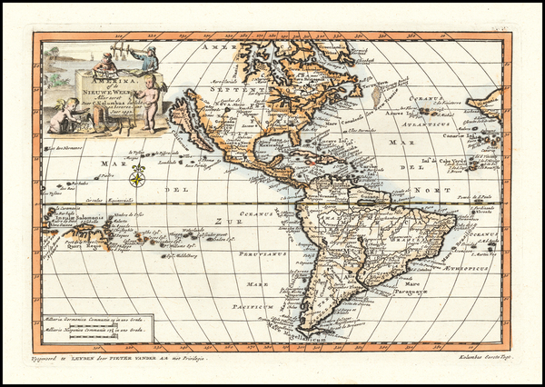47-California as an Island and America Map By Pieter van der Aa