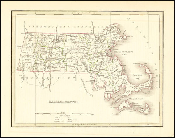 94-Massachusetts Map By Thomas Gamaliel Bradford