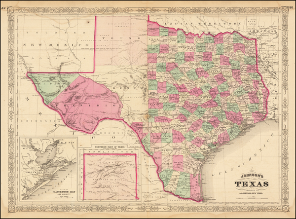 13-Texas Map By Alvin Jewett Johnson
