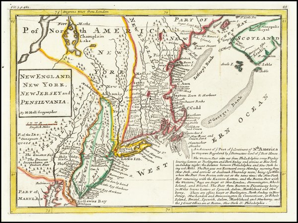 New England, New York State and Mid-Atlantic Map By Herman Moll