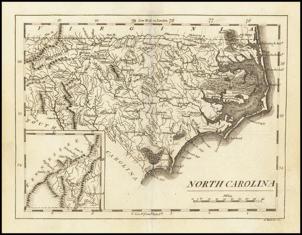 18-North Carolina Map By Mathew Carey