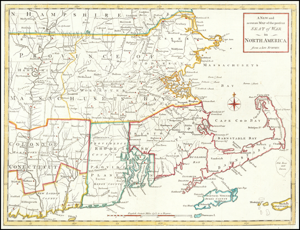 New England, Massachusetts, New Hampshire, Rhode Island and Vermont Map By Universal Magazine