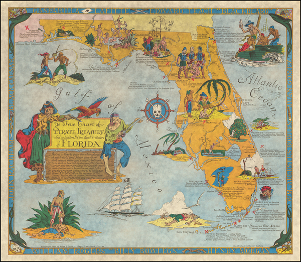 19-Florida and Pictorial Maps Map By Warner Sanford