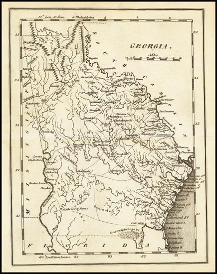 65-Georgia Map By Mathew Carey