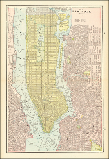 33-New York City Map By George F. Cram