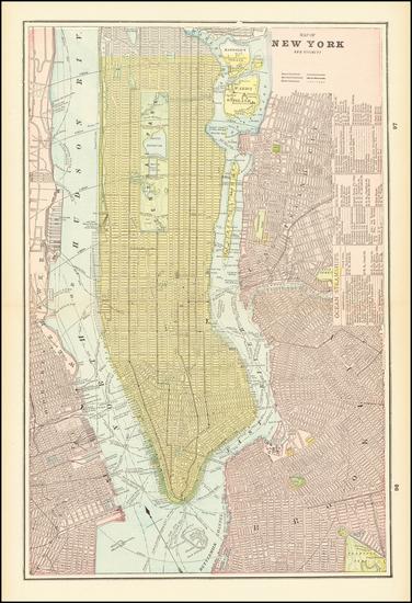 76-New York City Map By George F. Cram
