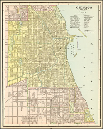 56-Illinois and Chicago Map By People's Publishing Co.
