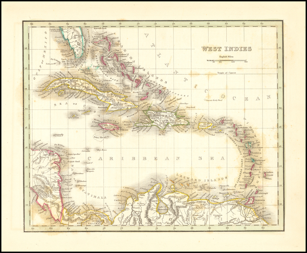 15-Caribbean Map By Thomas Gamaliel Bradford