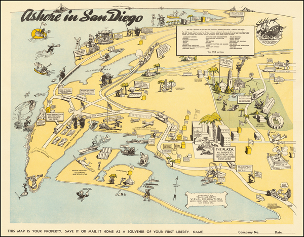 64-Pictorial Maps, California and San Diego Map By United States Naval Training Center