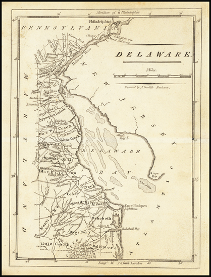 58-Delaware Map By Mathew Carey