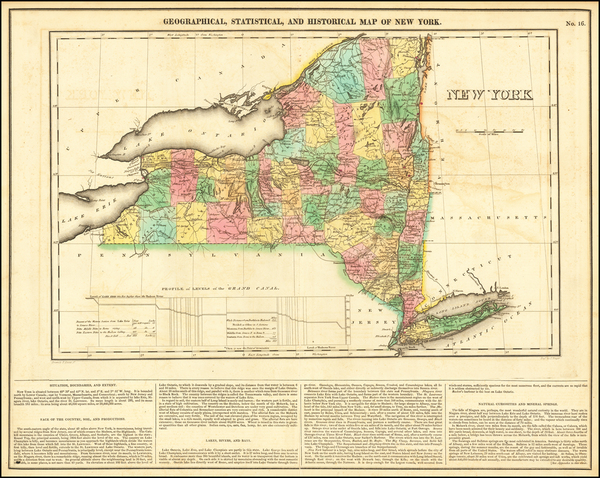 33-New York State Map By Henry Charles Carey  &  Isaac Lea