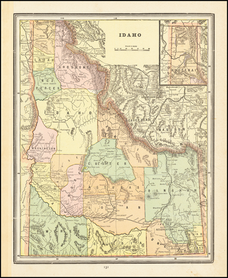 100-Idaho Map By George F. Cram
