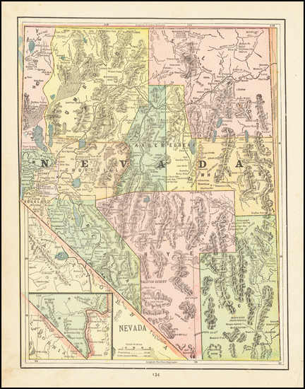 26-Nevada Map By George F. Cram