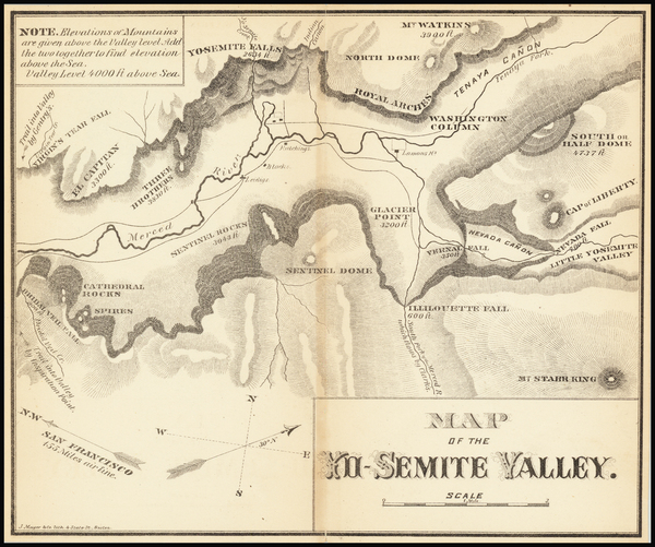 6-Yosemite Map By J. Mayer & Co.