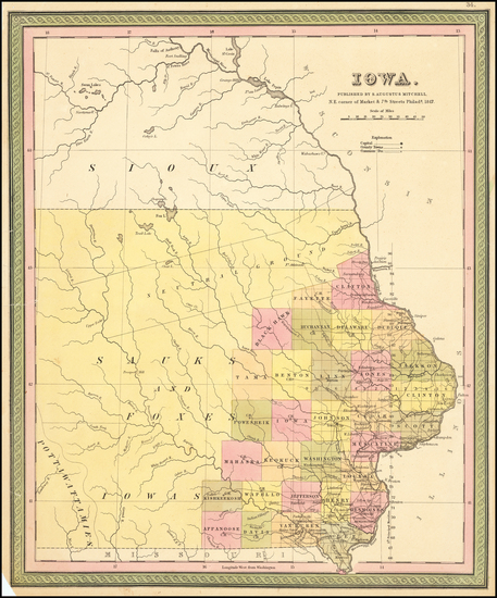 90-Iowa Map By Samuel Augustus Mitchell