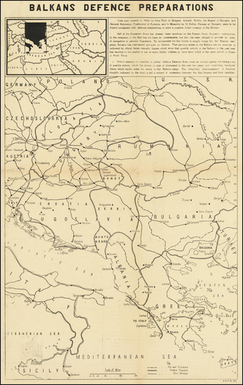 Romania, Balkans, Croatia & Slovenia, Bosnia & Herzegovina and Bulgaria Map By C. P. D.
